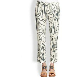 3.1 Phillip Lim Cropped Woodgrain Silk Blend Pants